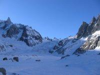 Rückblick vom Glacier du Tacul auf den Salle à Manger
