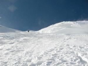 Die letzten Meter zur Schulter des Mt. Blanc du Tacul, oben die Wächte!