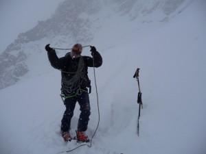 Dichtes Schneetreiben am Fuß der Petit Viking im Argentièrebecken